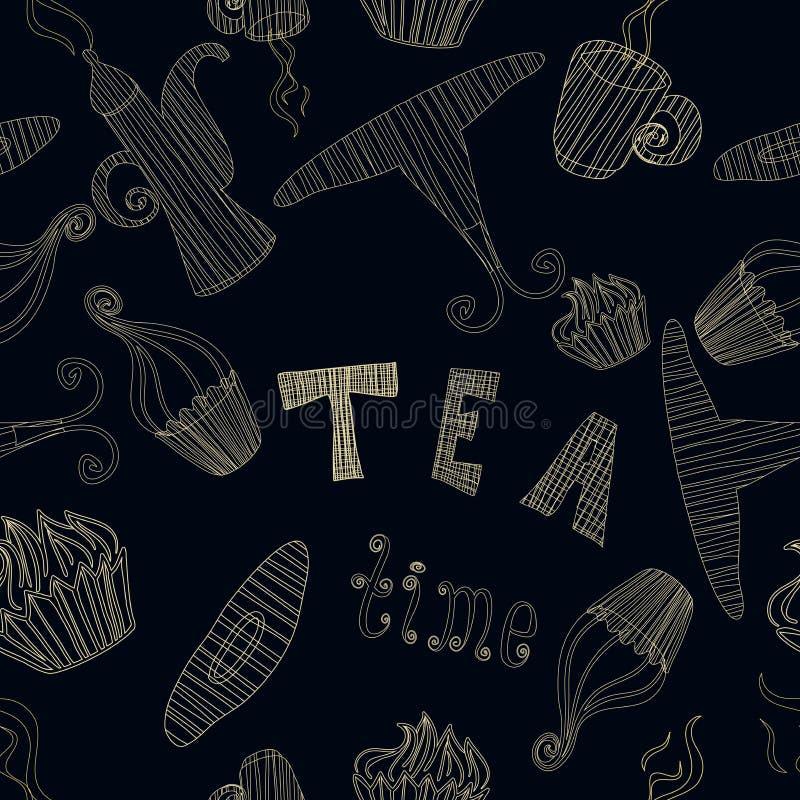 Raccolta senza cuciture degli elementi di tempo del tè del modello di vettore d'annata con il dolce, tazza, teiera illustrazione vettoriale
