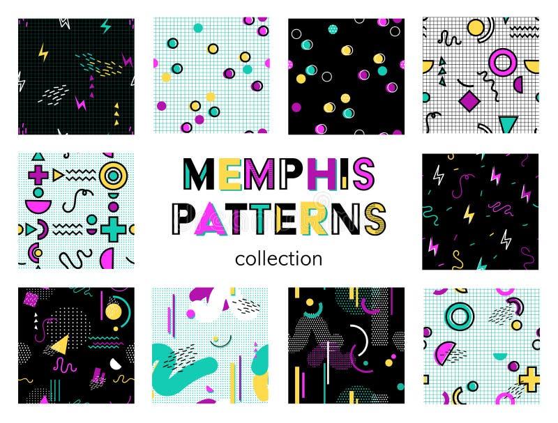 Raccolta senza cuciture dei modelli di Memphis royalty illustrazione gratis