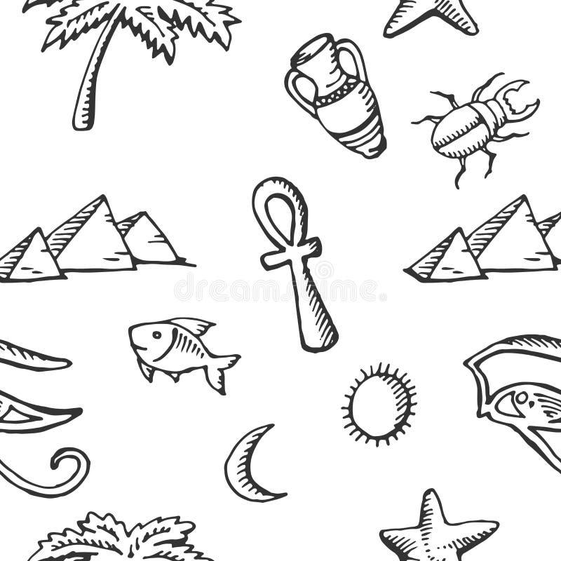Raccolta senza cuciture di schizzo del modello dei simboli egiziani illustrazione vettoriale