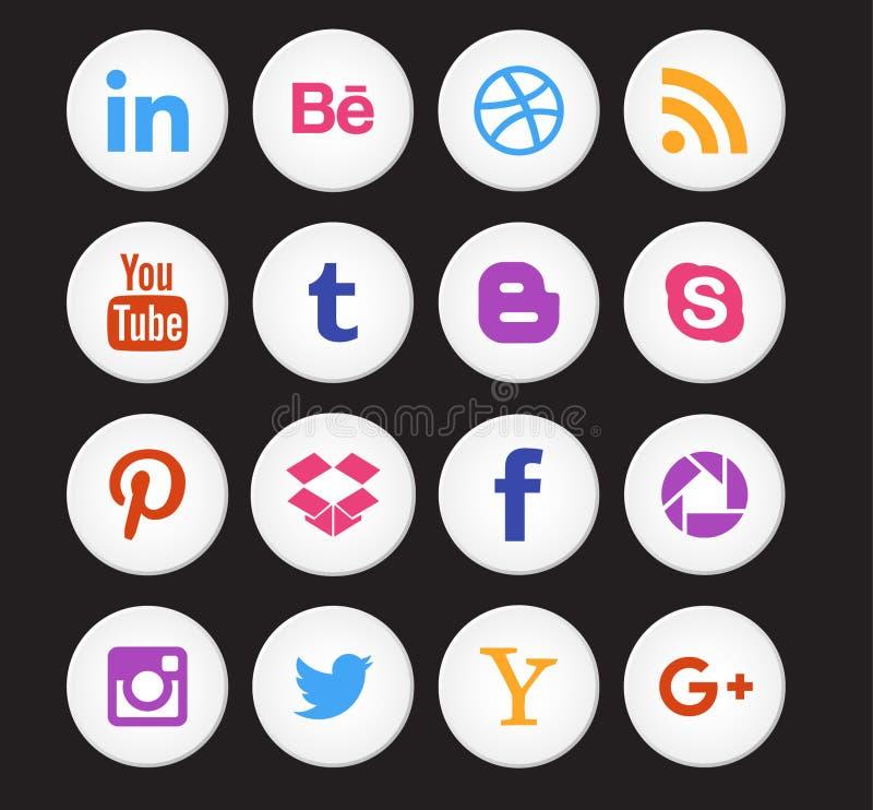 Raccolta sociale dell'icona di media illustrazione di stock