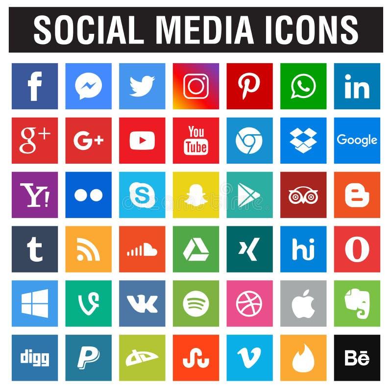 Raccolta sociale delle icone di media illustrazione vettoriale