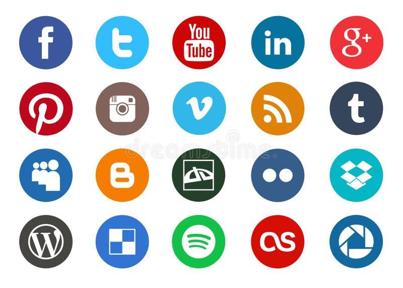 Raccolta sociale rotonda dell'icona di media illustrazione di stock