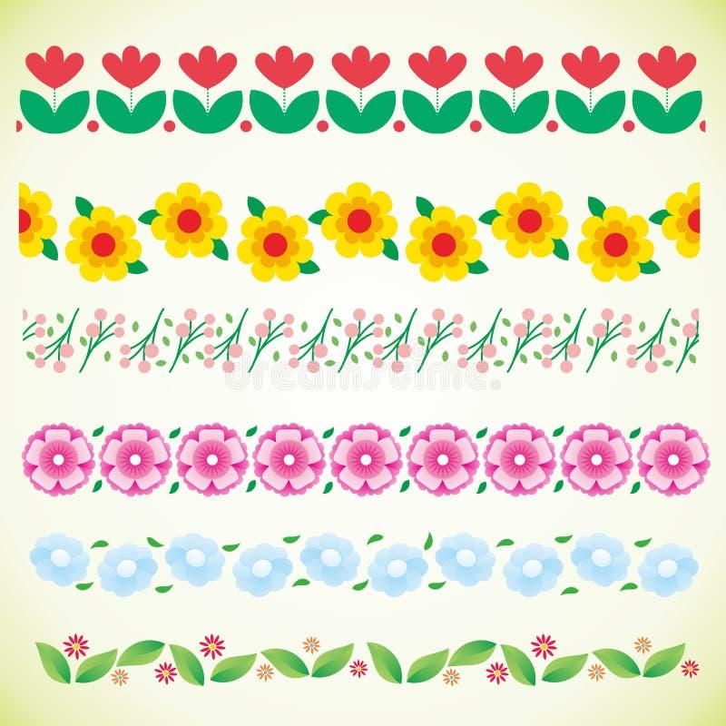 Raccolta stabilita del confine del fiore, confine della primavera illustrazione di stock