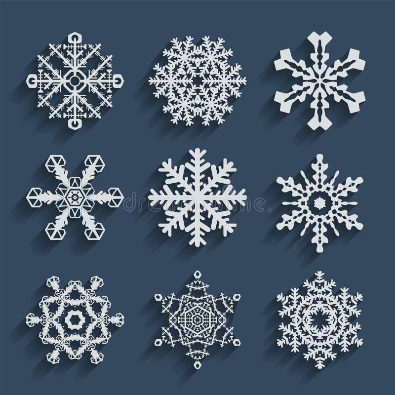 Raccolta stabilita dell'icona dei fiocchi di neve Forme di vettore illustrazione di stock