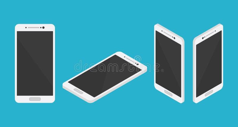 Raccolta stabilita dello smartphone isometrico da anteriore e superiore da sinistra a destra royalty illustrazione gratis