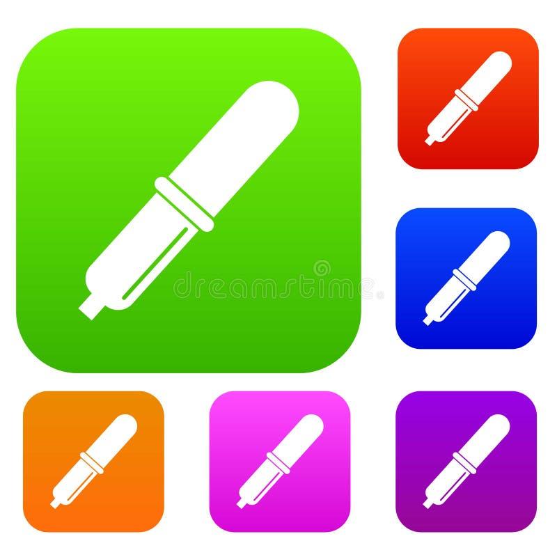 Raccolta stabilita di colore della pipetta royalty illustrazione gratis