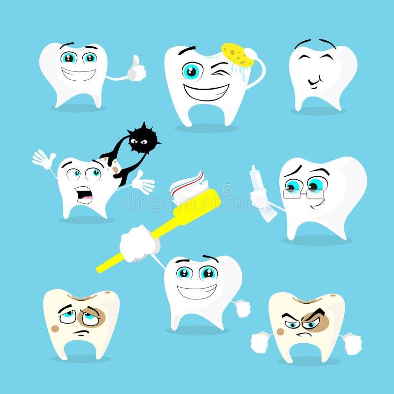Raccolta stabilita di sanità dentaria dei denti illustrazione di stock