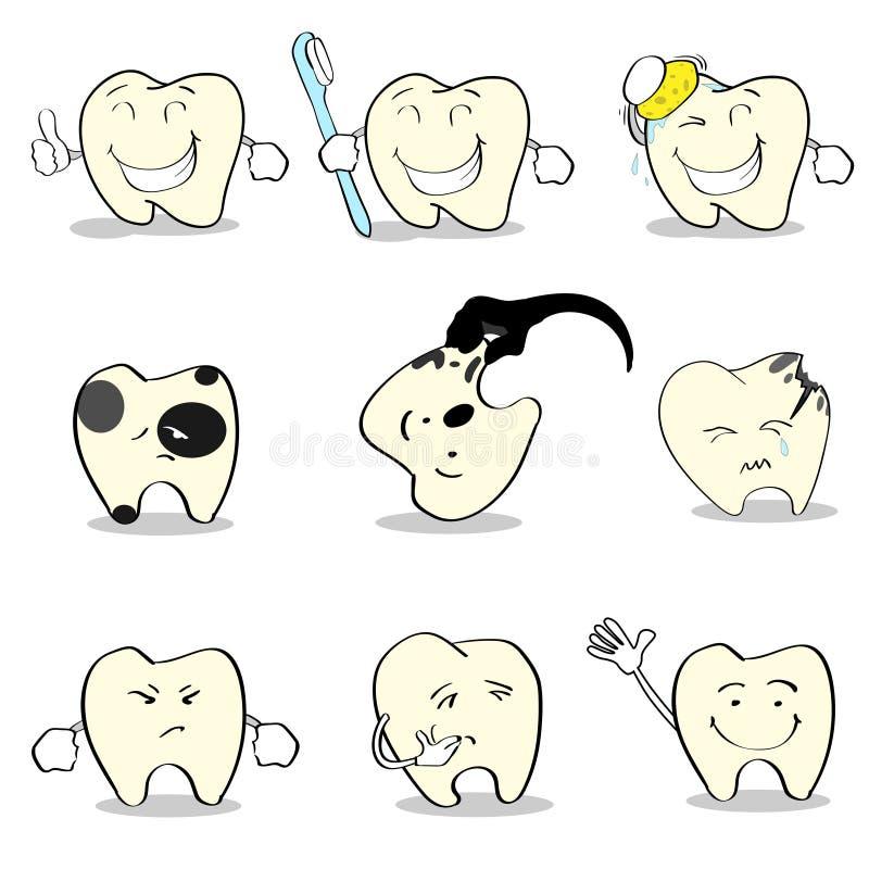 Raccolta stabilita di sanità dentaria dei denti illustrazione vettoriale
