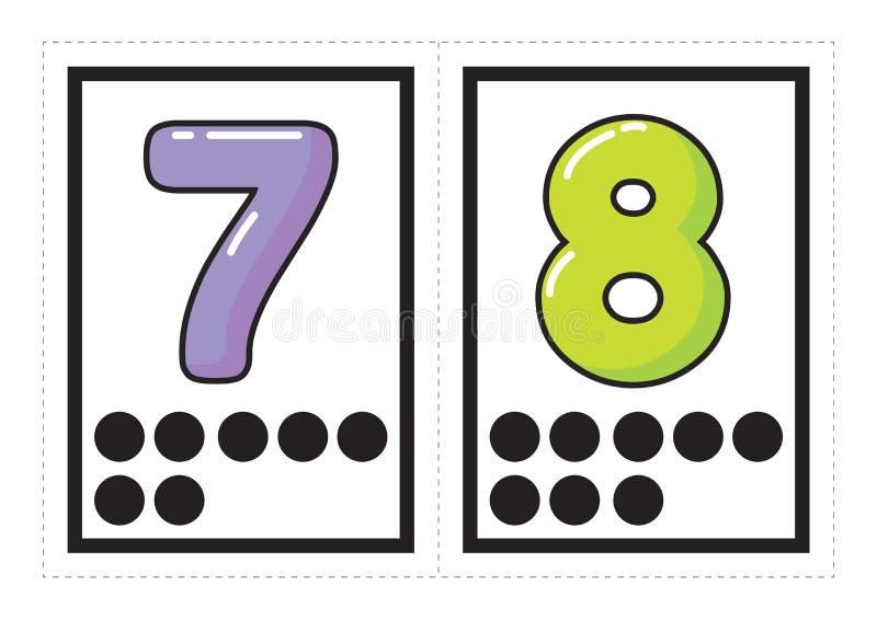 Raccolta stampabile del flash card per i numeri con il numero di corrispondenza dei punti sistemati nei gruppi per prescolare/asi illustrazione di stock