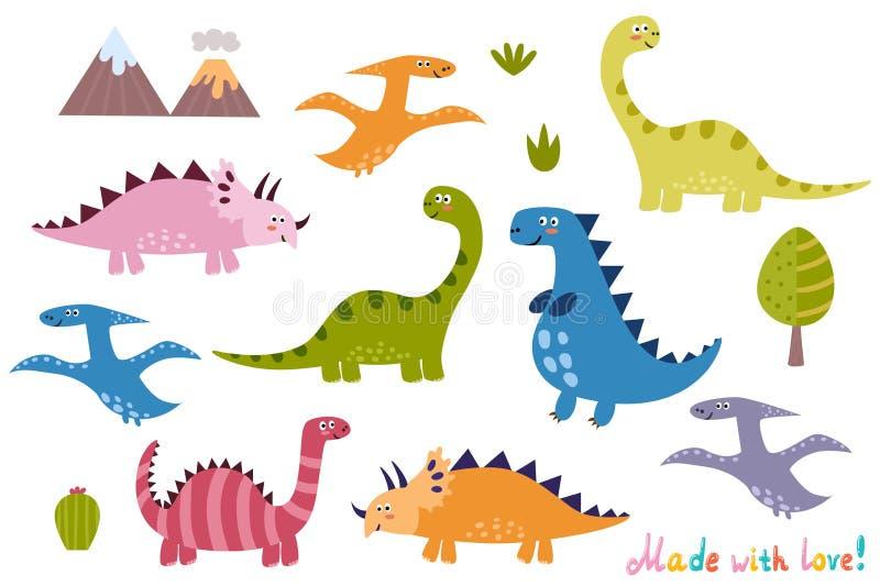 Raccolta sveglia dei dinosauri Insieme di elementi isolato per la vostra progettazione illustrazione vettoriale