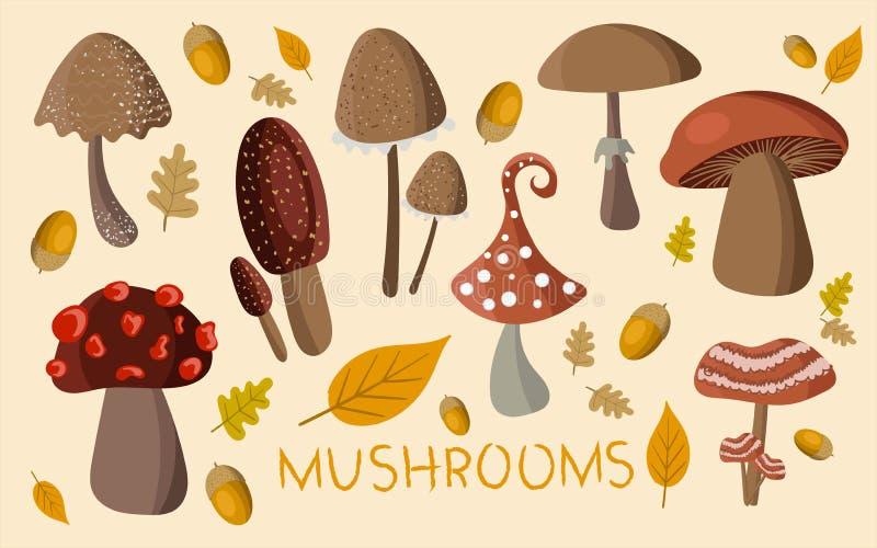 Raccolta sveglia dei funghi su fondo Autoadesivi del fungo per creatività dei bambini s, etichette per i prodotti o un logo per u royalty illustrazione gratis