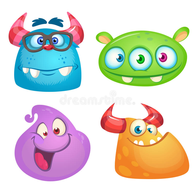 Raccolta sveglia dei mostri del fumetto Un insieme di vettore di 4 icone del mostro di Halloween illustrazione di stock