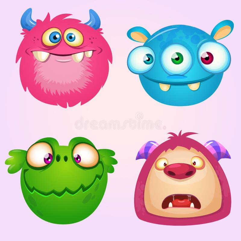 Raccolta sveglia dei mostri del fumetto Un insieme di vettore di 4 icone del mostro di Halloween illustrazione vettoriale