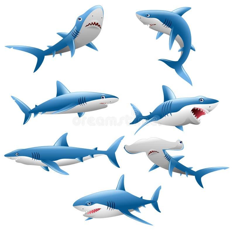 Raccolta sveglia del fumetto dello squalo illustrazione vettoriale