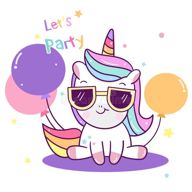 Raccolta sveglia del partito di Unicorn Vector, animale del bambino del fumetto del pallone illustrazione di stock