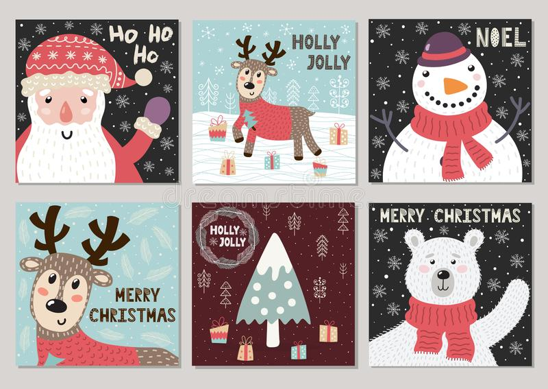 Raccolta sveglia delle cartoline d'auguri di Natale royalty illustrazione gratis