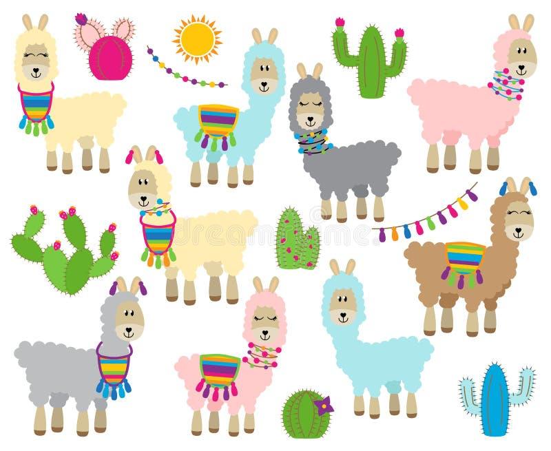 Raccolta sveglia di vettore dei lama, delle vigogna e dell'alpaca illustrazione vettoriale