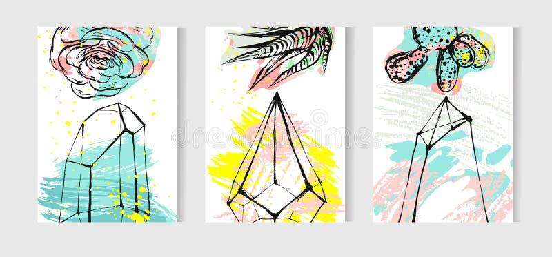 Raccolta tropicale dell'insieme di carte di vettore disegnato a mano con le piante della casa, i succulenti e le piante del cactu royalty illustrazione gratis