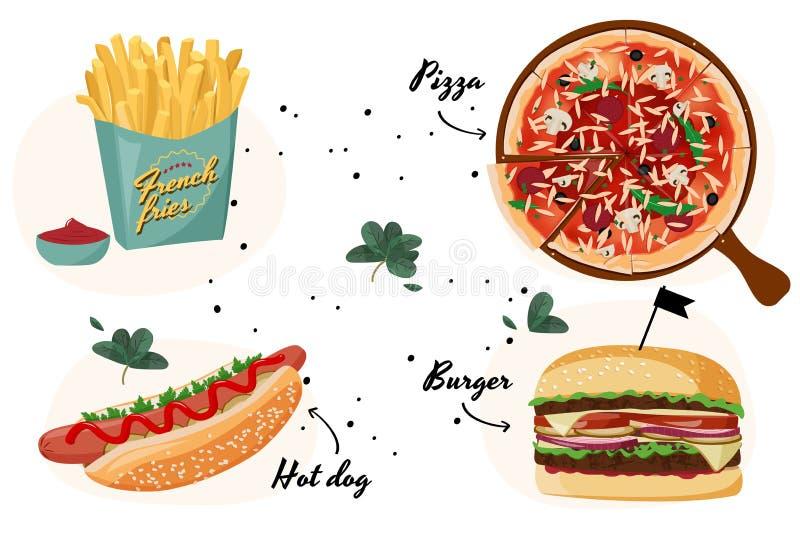 Raccolta variopinta degli alimenti a rapida preparazione Illustrazione realistica del pasto di vettore royalty illustrazione gratis