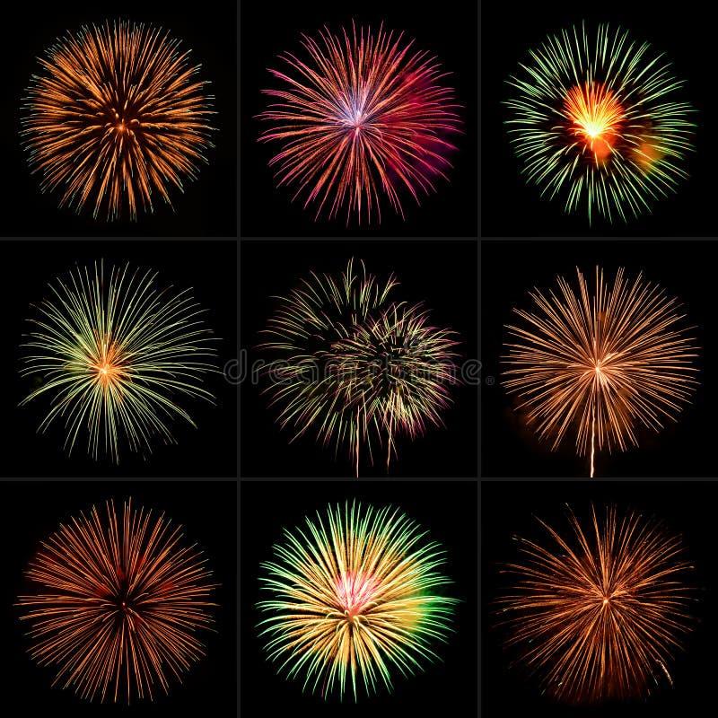 Raccolta variopinta del fuoco d'artificio fotografia stock