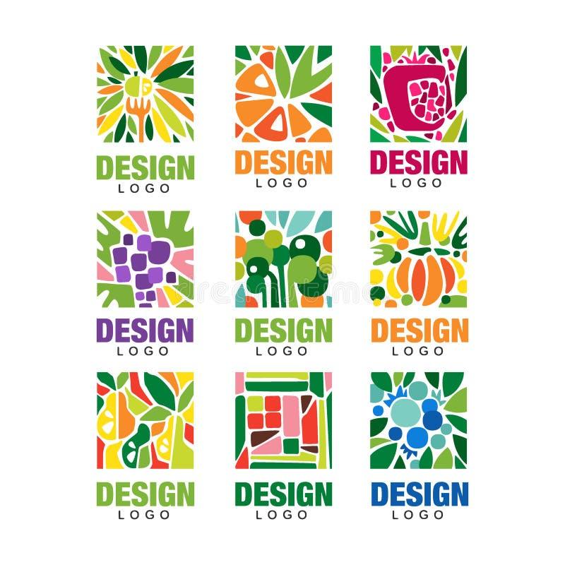 Raccolta variopinta del logos della frutta Modello originale dell'etichetta nella forma rettangolare Concetto sano dell'alimento  illustrazione vettoriale