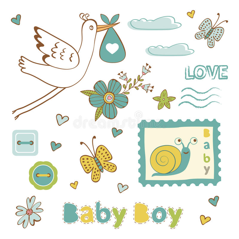 Raccolta variopinta dell'annuncio del neonato illustrazione di stock