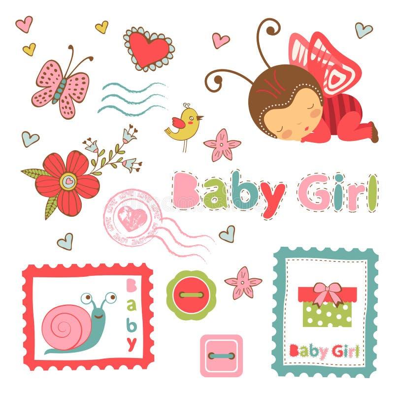 Raccolta variopinta dell'annuncio della neonata illustrazione di stock