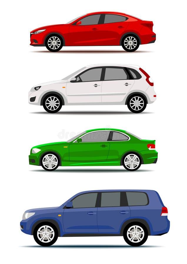 Raccolta variopinta delle automobili isolata su bianco illustrazione di stock