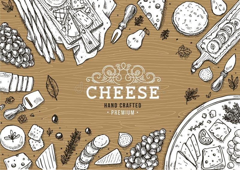 Raccolta verticale dell'insegna del formaggio Fondo della tavola dell'antipasto illustrazione di stock