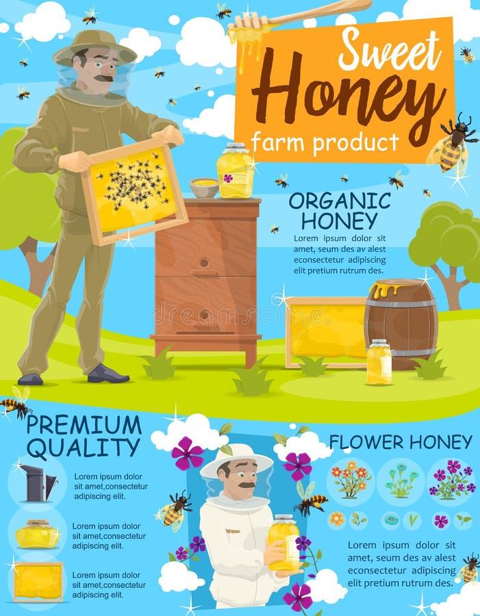 Raccolto del miele, apicoltore che controlla alveare illustrazione di stock
