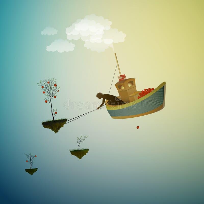 Raccolto del paese delle meraviglie, tempo di raccogliere la mela magica, nave magica in Dreamland, scena dal paese delle meravig illustrazione vettoriale