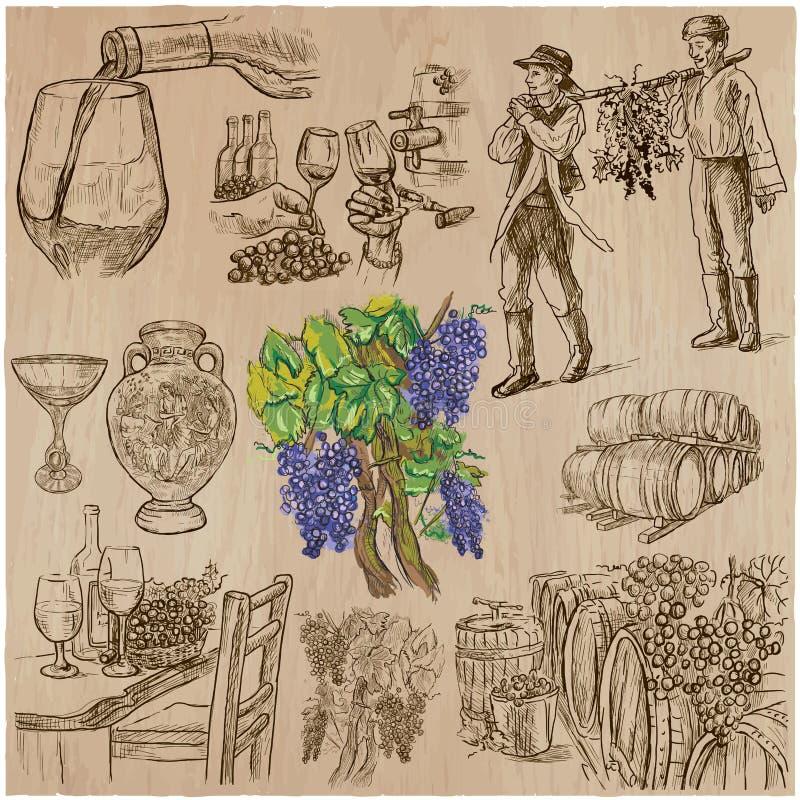 Raccolto del vino, annata - un insieme disegnato a mano di vettore royalty illustrazione gratis