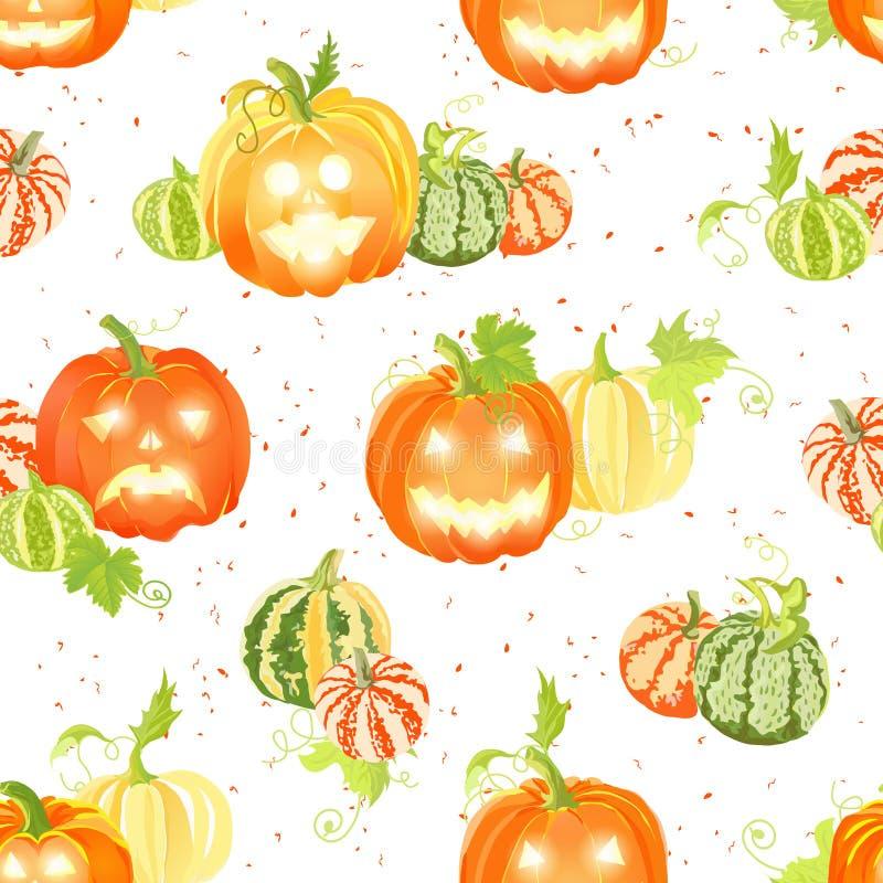 Raccolto della zucca e modello senza cuciture di vettore delle decorazioni di Halloween royalty illustrazione gratis