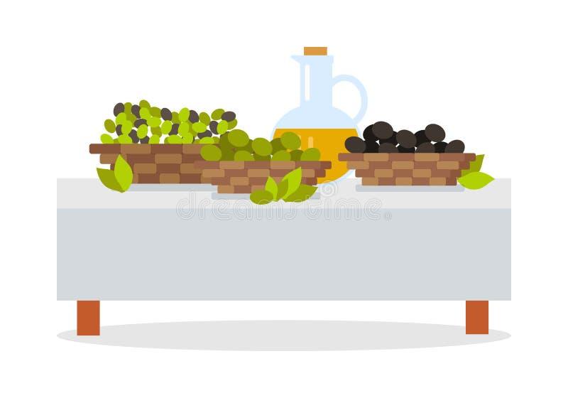 Raccolto fresco del concetto piano di vettore di progettazione delle olive illustrazione vettoriale