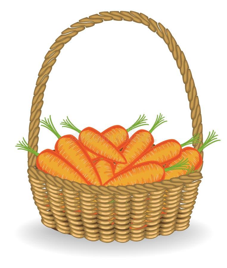 Raccolto generoso in un bello canestro di vimini, carote fresche Le verdure sono molto saporite e vitamina È necessario per royalty illustrazione gratis