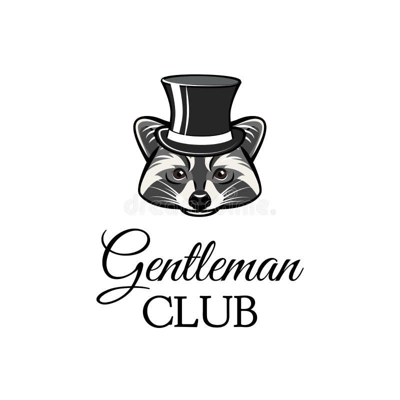Raccon gentleman i bästa hatt Gentlemanklubbatext också vektor för coreldrawillustration stock illustrationer
