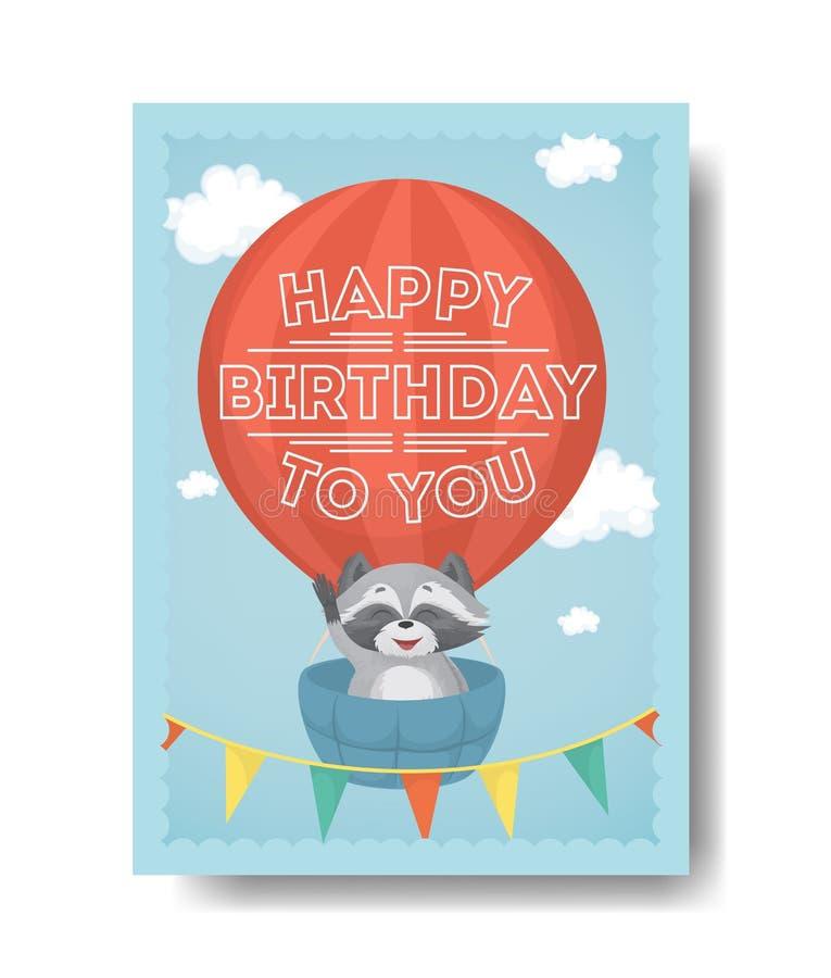 открытка на день рождения с енотом раскраска различных