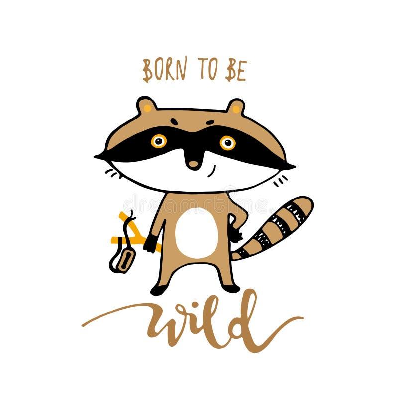 Raccoon bonito dos desenhos animados Imprima para cartões, ilustração do vetor da camisa de t ilustração royalty free