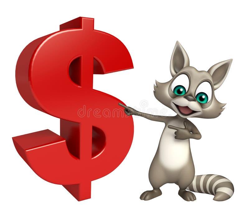 Raccoon cartoon character with dollar sign. 3d rendered illustration of Raccoon cartoon character with dollar sign royalty free illustration