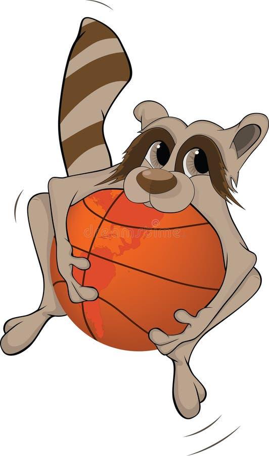 Raccoon e uma esfera do basquetebol. Desenhos animados