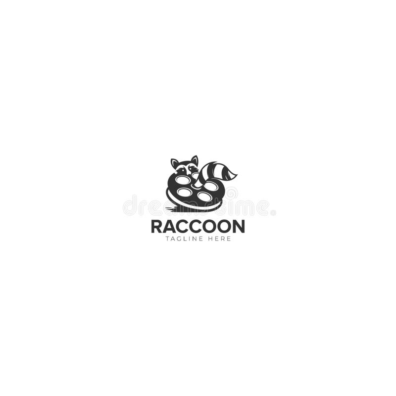 Raccoon Film Production and Industry Logo stock illustration