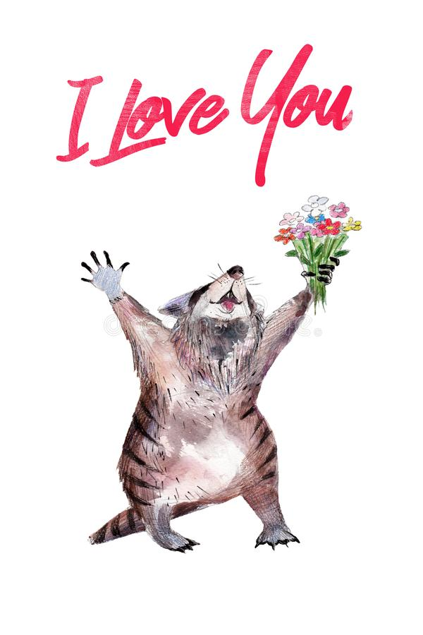 Raccoon with flower, watercolor hand-drawn illustation, St. Valentine`s day card. royalty free illustration