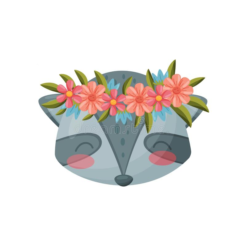 Raccoon with flower wreath. Flora and fauna concept. Gray Raccoon with flower wreath on white background. Flora and fauna. Nature and animals concept. Color stock illustration