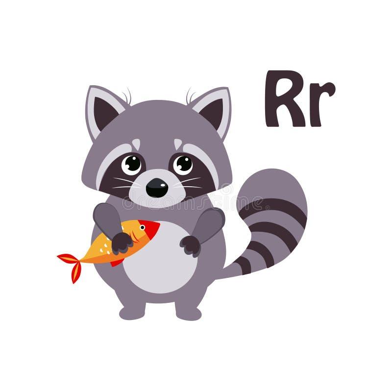 Raccoon. Funny Alphabet, Animal Vector Illustration. Raccoon. Funny Alphabet, Colourful Animal Vector Illustration stock illustration