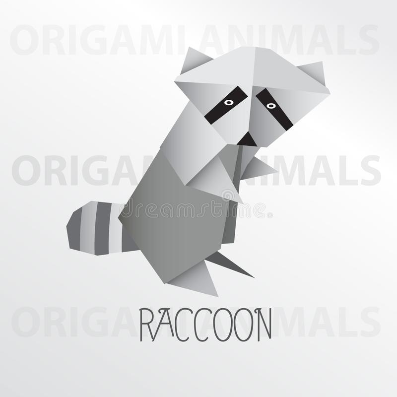 Raccoon origami paper art illustration royalty free illustration