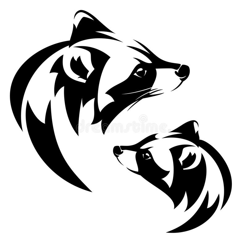 Raccoon Profile Head Black And White Vector Stock Vector ... Raccoon Face Clip Art Black And White