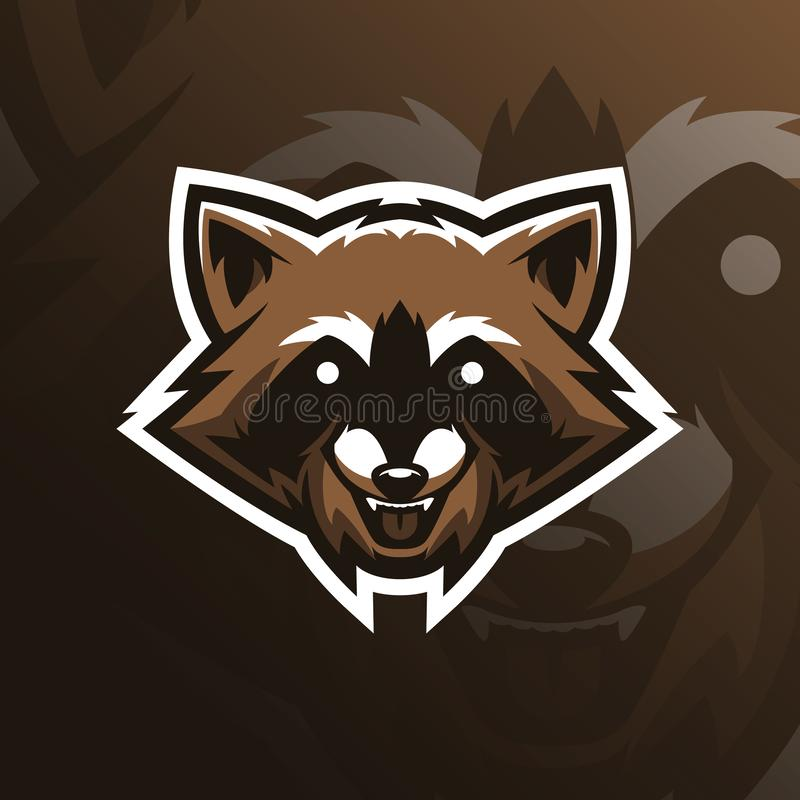 Raccoon vector mascot logo design with modern illustration concept style for badge, emblem and tshirt printing. head raccoon. Illustration for sport and esport stock illustration