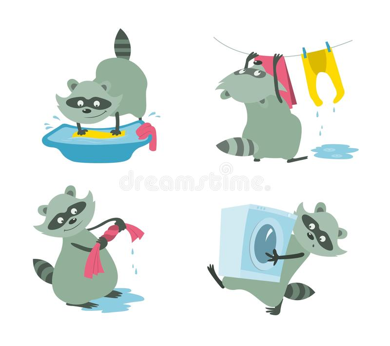 Raccoon washes a kidswear set. Set of raccoons washes a kidswear vector cartoons in flat style stock illustration