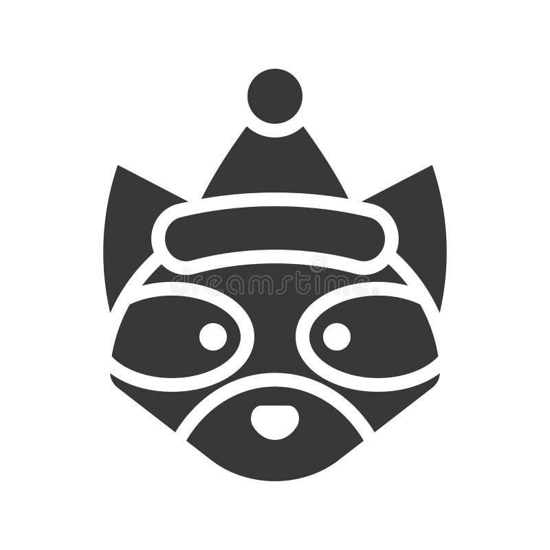 Raccoon wearing santa hat silhouette icon design. Raccoon wearing santa hat, silhouette icon design stock illustration