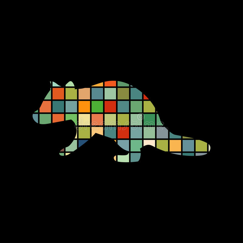 Raccoon wildlife color silhouette animal. Vector Illustrator stock illustration